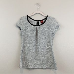 Merona Heathered Light Gray Faux Leather Trim Top